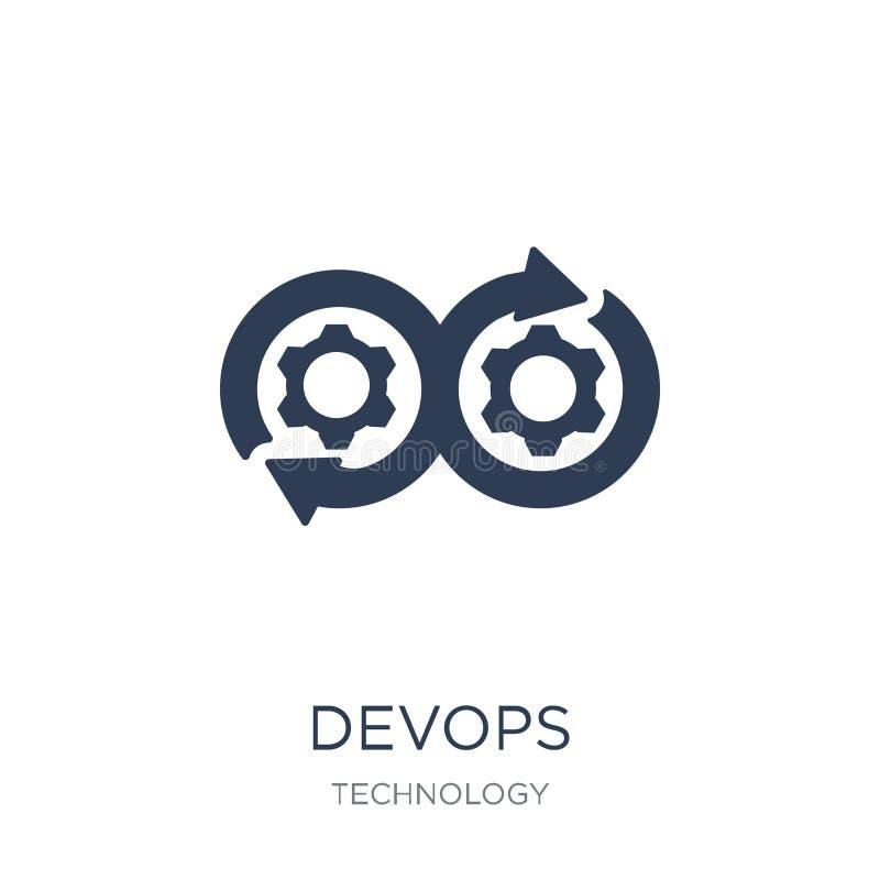DEVOPS-symbol Moderiktig plan symbol för vektor DEVOPS på vit bakgrund stock illustrationer