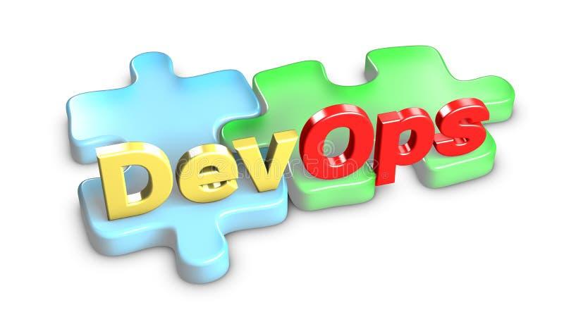 DevOps znaczy rozwój i operacje świadczenia 3 d ilustracja wektor