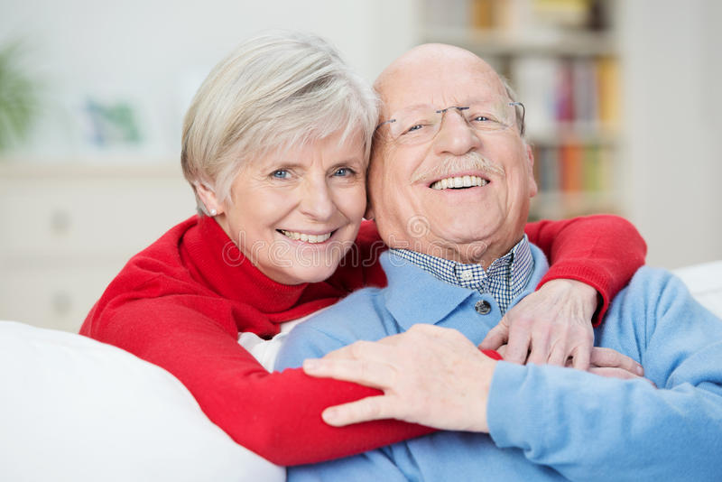 Devoted happy senior couple royalty free stock image