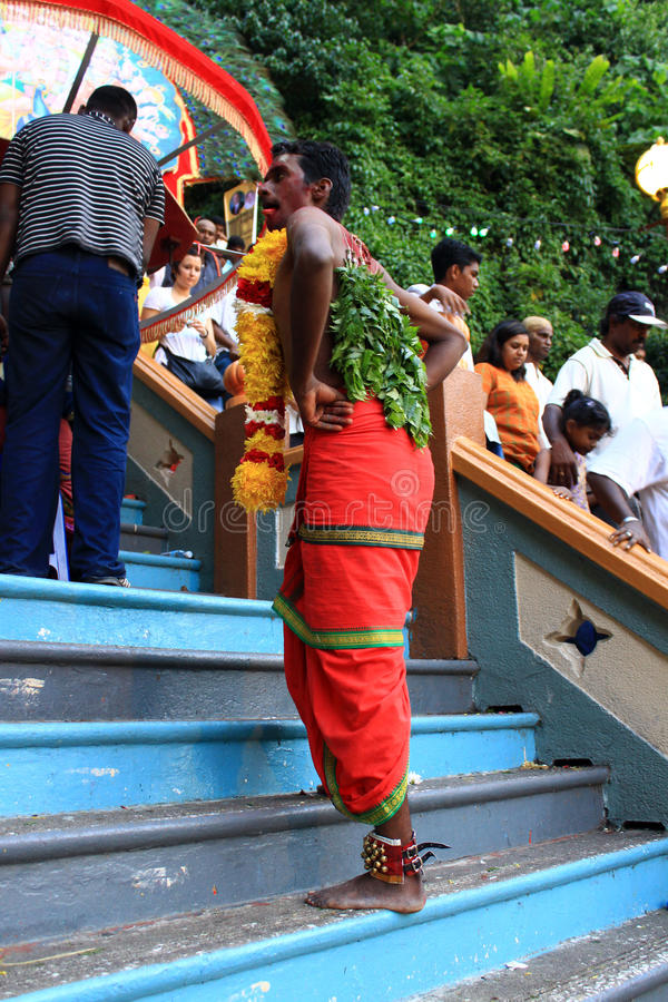 A devotee in the Hindu festival of Thaipusam. royalty free stock photos