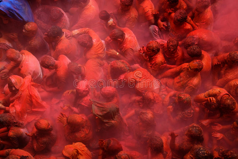Devotees at the Holi Festival royalty free stock photos