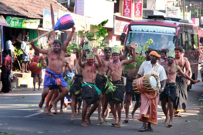 Devotees of Lord Ayyappa perform ' Erumeli Petta Thullal'. Devotees of Lord Ayyappa perform a spiritual dance on the way to Sabarimala pilgrimage on December16 stock image