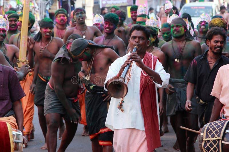 Devotees of Lord Ayyappa perform ' Erumeli Petta Thullal'. Devotees of Lord Ayyappa perform a spiritual dance on the way to Sabarimala pilgrimage on December16 royalty free stock photos