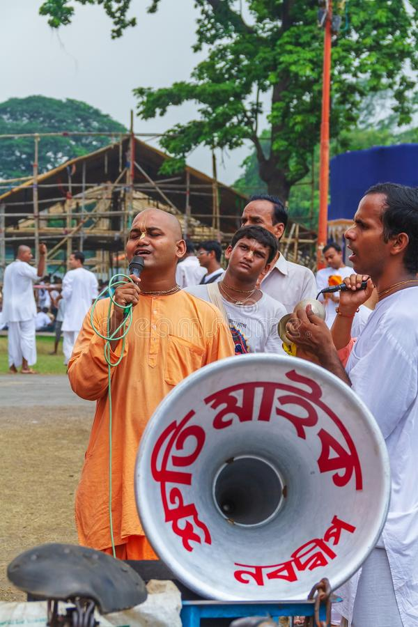 Devotees Singing at Rath Yatra Festival. Devotees singing devotional song on Rath Yatra Festival, India stock photography
