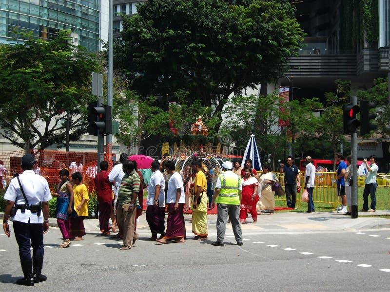 Devoti durante il Thaipusam immagine stock libera da diritti