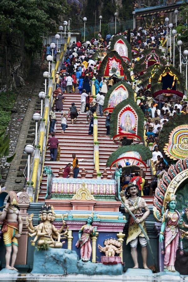 Devoti indù alla celebrazione di Thaipusam fotografie stock