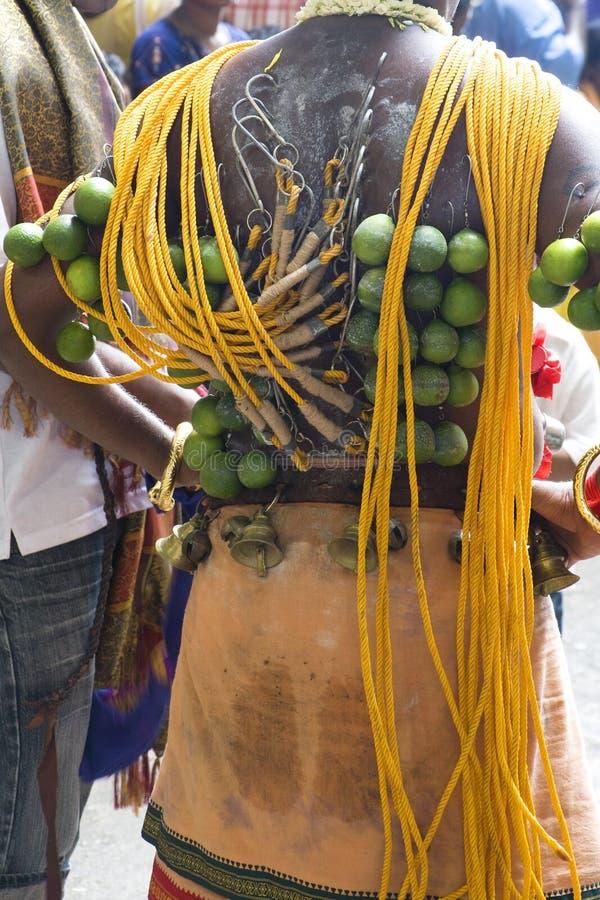 Devoto indù alla celebrazione di Thaipusam fotografia stock