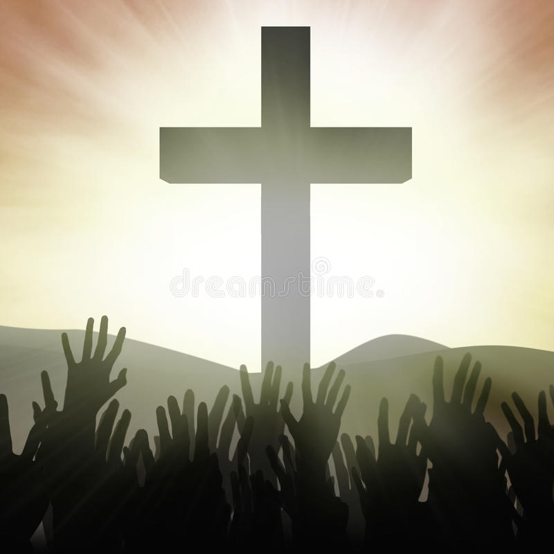 Devotos cristianos en la cruz stock de ilustración