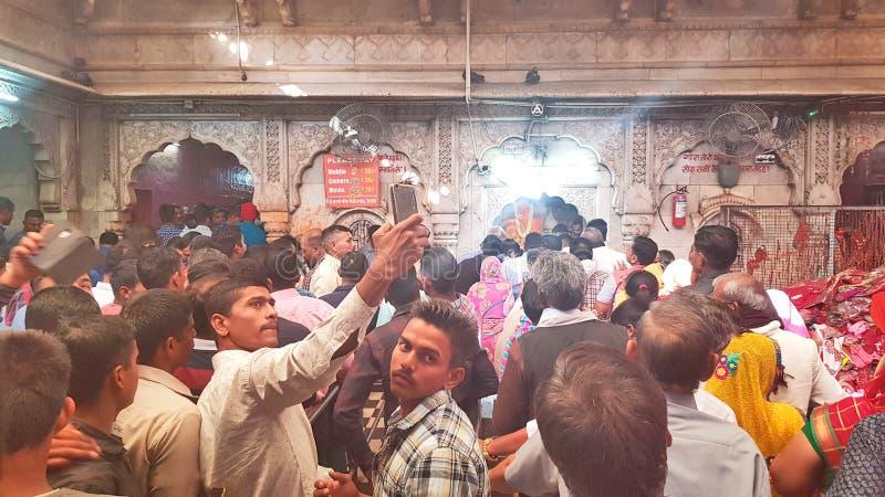 Devotos en el templo de Karni, Bikaner fotografía de archivo libre de regalías
