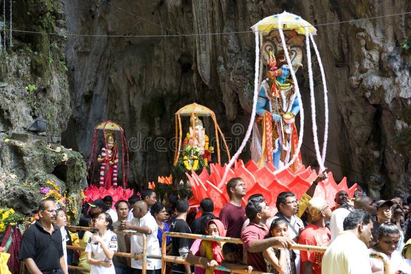 Devotos Hindu na celebração de Thaipusam foto de stock