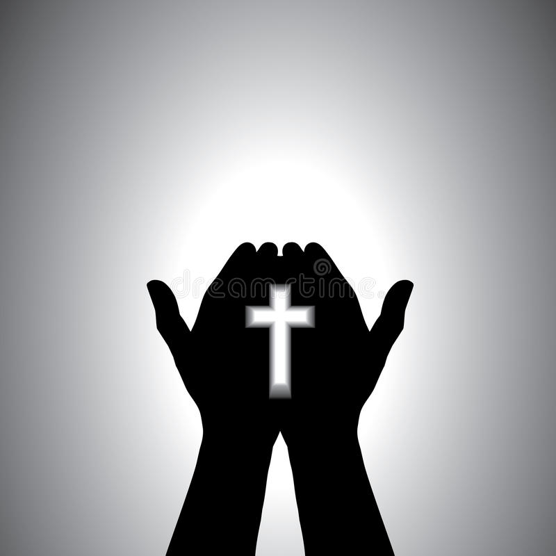 Devout christian worshiping with cross in hand royalty free illustration