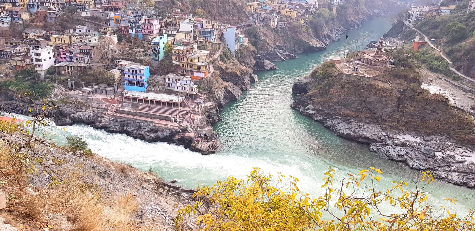 DevpraPanch Prayag five confluences of Alaknanda River. Devprayag of Uttarakhand, is one of the Panch Prayag five confluences of Alaknanda River; where Alaknanda royalty free stock photography