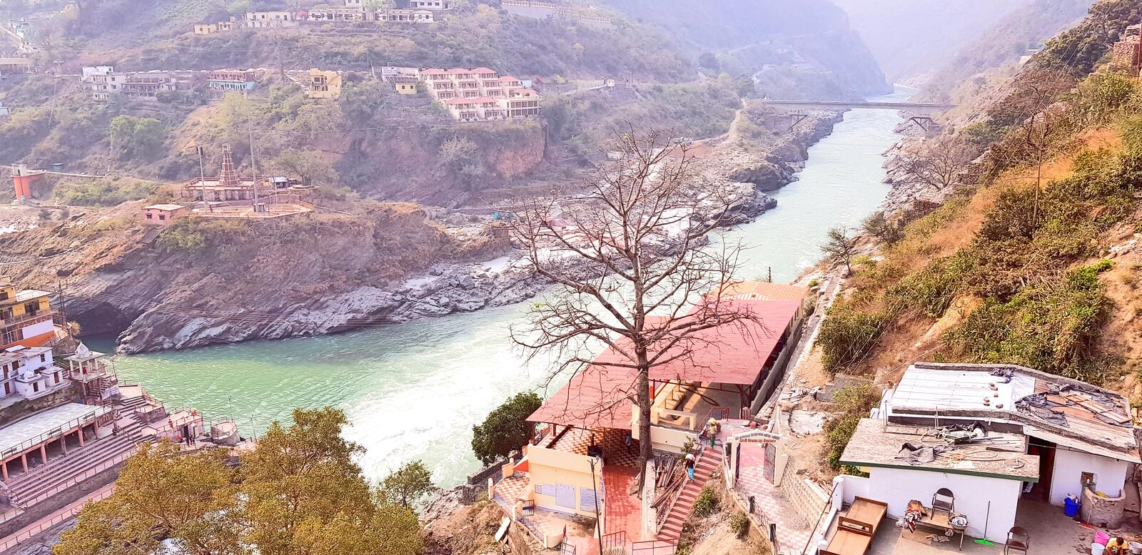 DevpraPanch Prayag five confluences of Alaknanda River. Devprayag of Uttarakhand, is one of the Panch Prayag five confluences of Alaknanda River; where Alaknanda royalty free stock image