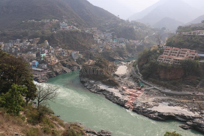 DevpraPanch Prayag five confluences of Alaknanda River. Devprayag of Uttarakhand, is one of the Panch Prayag five confluences of Alaknanda River; where Alaknanda royalty free stock images