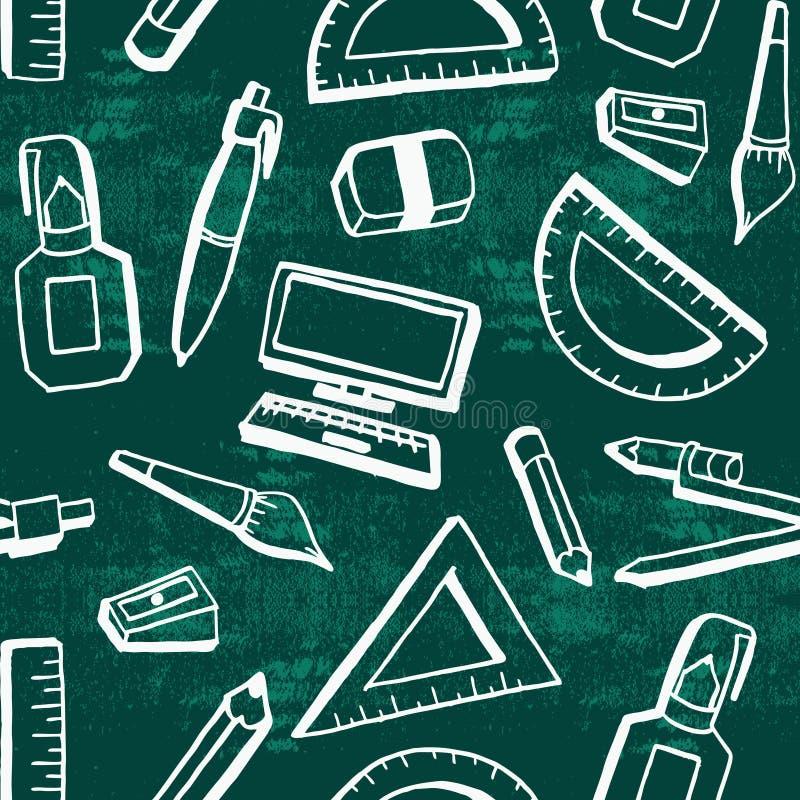 Devuelva exhausto a fondo del tema de la escuela con los objetos creativos de la forma de vida del estudiante stock de ilustración