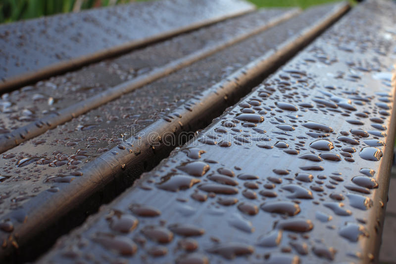 Download Dew on a bench stock image. Image of water, summer, forms - 26266973