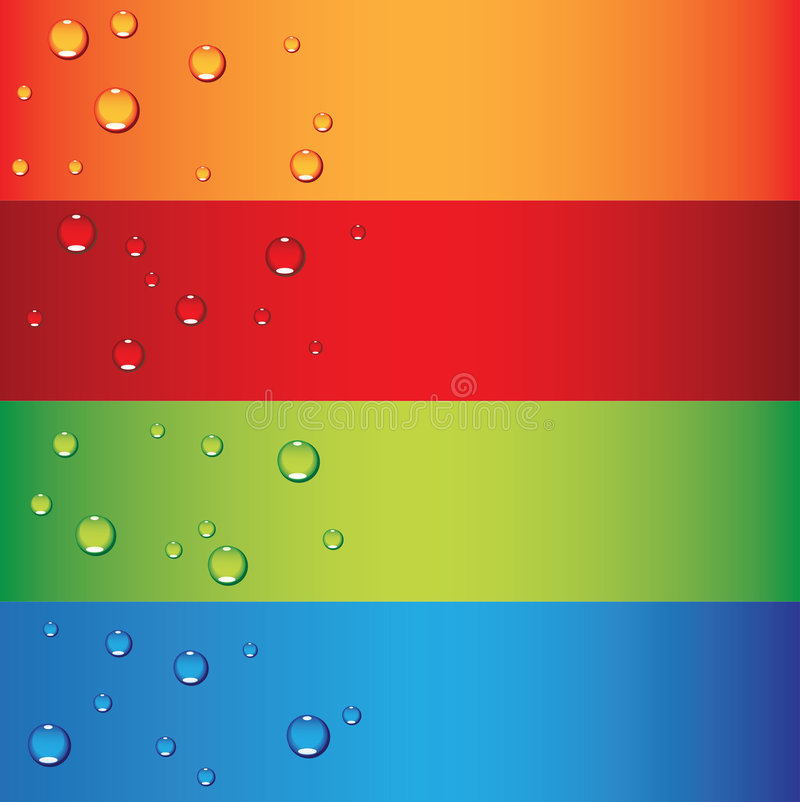 Dew Drops. A set of colourful banners with dew drops vector illustration