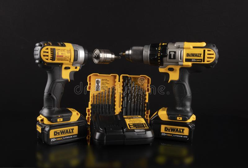 DeWalt cordless power drill on a black background stock photos