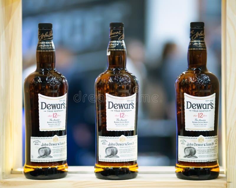 Dewar scotch na Barometrycznym zawody międzynarodowi baru przedstawieniu fotografia royalty free