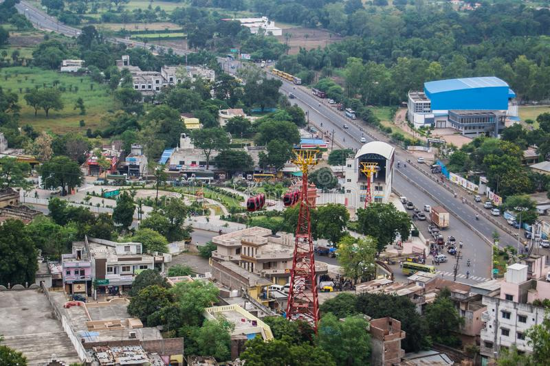 Dewas City Arial View Madhya Pradesh. Dewas City Arial Views Madhya Pradesh India from Hill , rope way , cable cars , highway and buildings are also visible royalty free stock photos