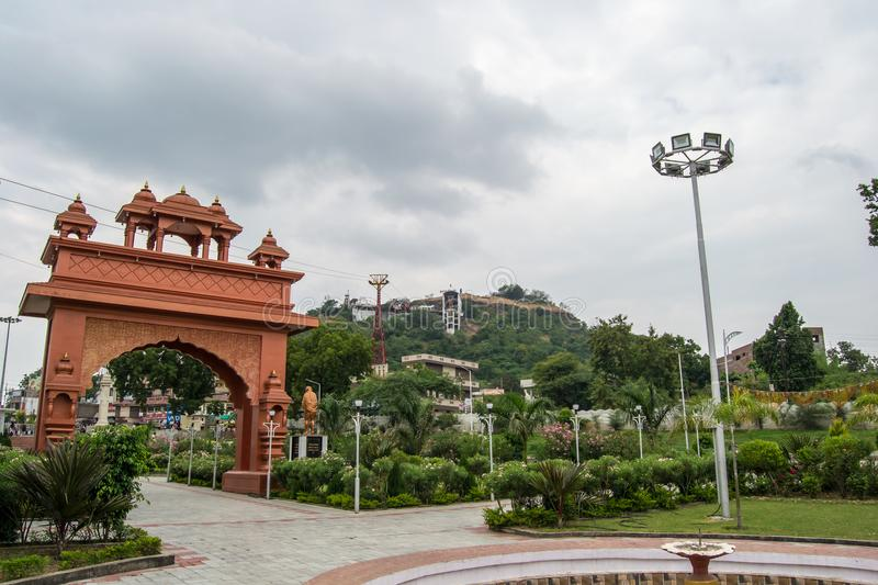 Dewas City Madhya Pradesh. India Hill Temple and Cable cars are alos visible royalty free stock photography