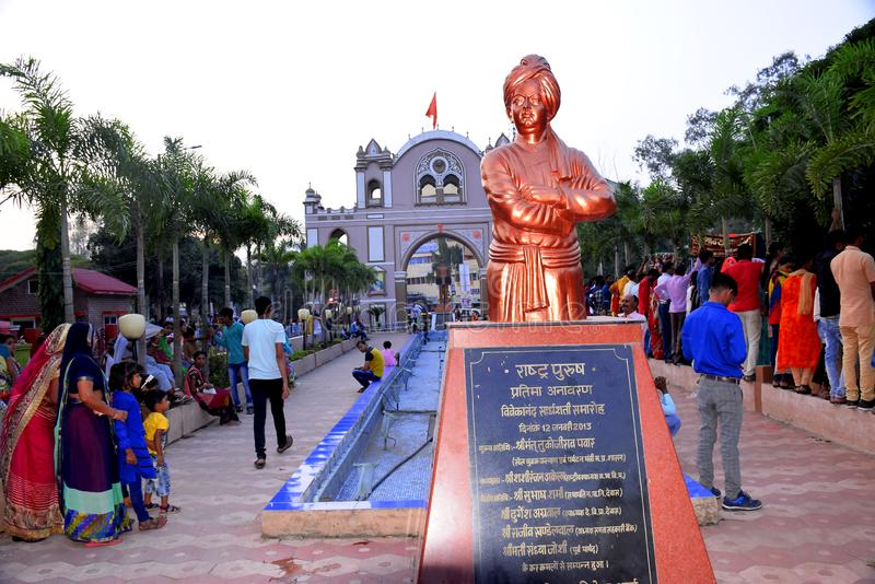 Dewas, India, 09-11-2019, the statue of Swami Vivekananda which is located in Dewas city, famous sayaji gate of dewas city in the. Background, the people of royalty free stock photo
