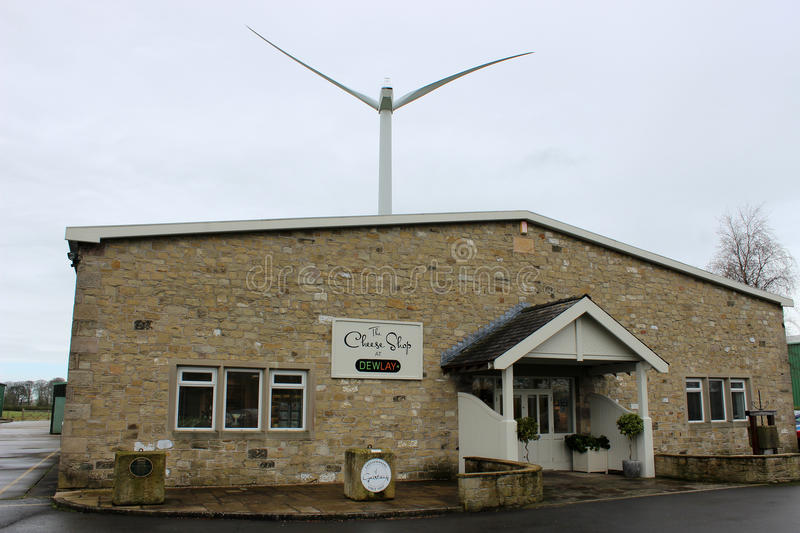 Dewlay cheese shop and wind turbine, Garstang stock images