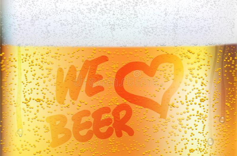 Dewy glass of beer in detail - WE LOVE BEER. Vector illustration royalty free illustration