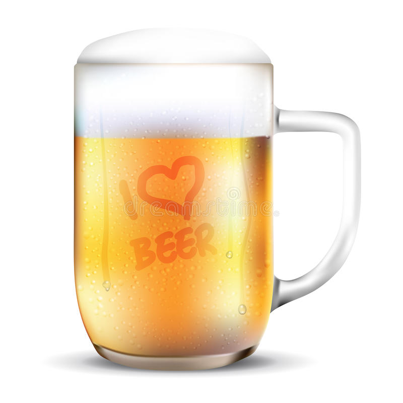 Dewy glass of beer - I LOVE BEER. Dewy glass of beer with I LOVE BEER lettering. on white background - vector illustration vector illustration