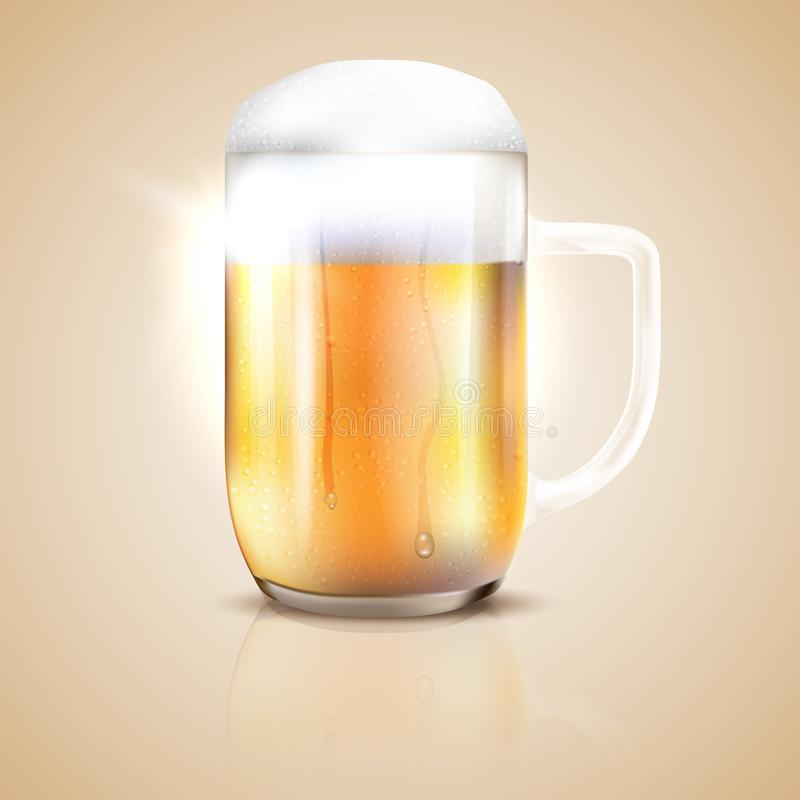 Dewy and shiny glass of beer with reflection. Vector illustration stock illustration