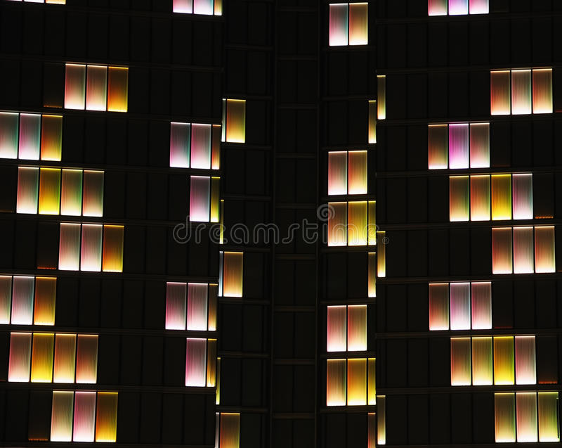 Dexia Tower. BRUSSELS, BELGIUM-AUGUST 15: Night illumination of 137 m tall Dexia Tower on August 15, 2008 in Brussels. 4200 windows have light bulbs with 3