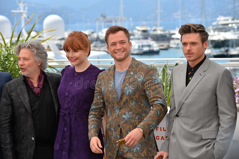 Dexter Fletcher, Bryce Dallas Howard, Taron Egerton & Richard Madden. CANNES, FRANCE. May 16, 2019: Dexter Fletcher, Bryce Dallas Howard, Taron Egerton & Richard royalty free stock photography