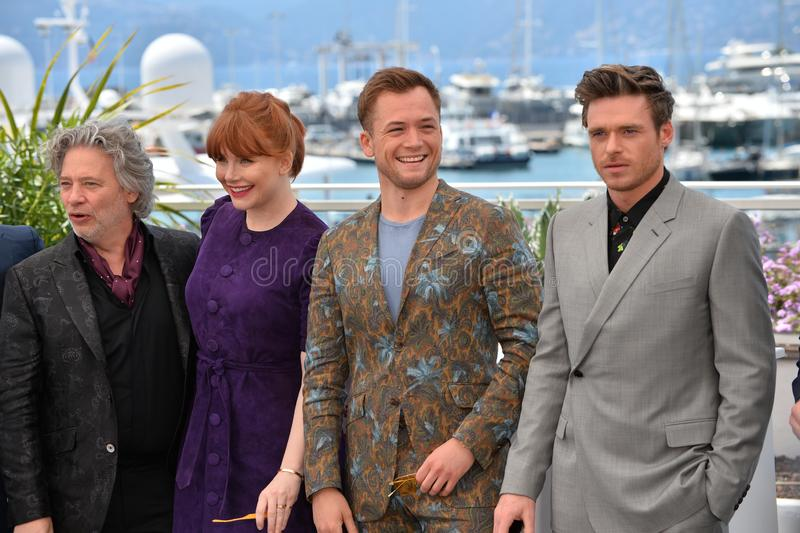 Dexter Fletcher, Bryce Dallas Howard, Taron Egerton & Richard Madden. CANNES, FRANCE. May 16, 2019: Dexter Fletcher, Bryce Dallas Howard, Taron Egerton & Richard stock photos