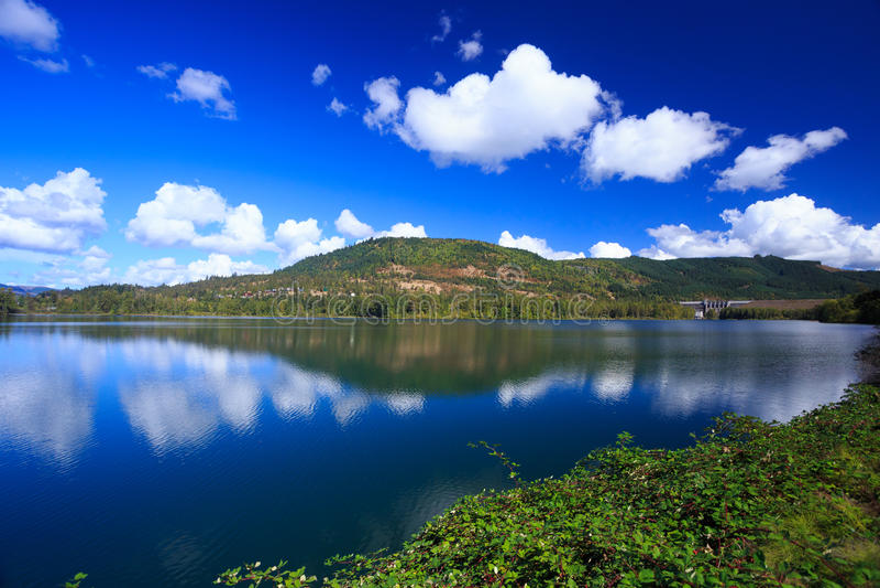 Dexter Reservoir in Oregon. Dexter Reservoir with the Lookout Point Dam near Eugene Oregon royalty free stock photo