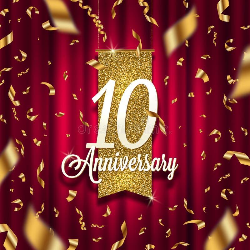 Dez anos de quadro indicador dourado do aniversário no projetor no fundo vermelho da cortina e em confetes dourados ilustração stock