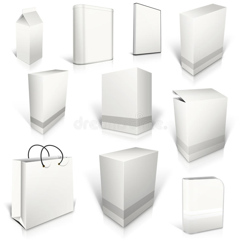 Dez caixas vazias brancas no branco ilustração do vetor
