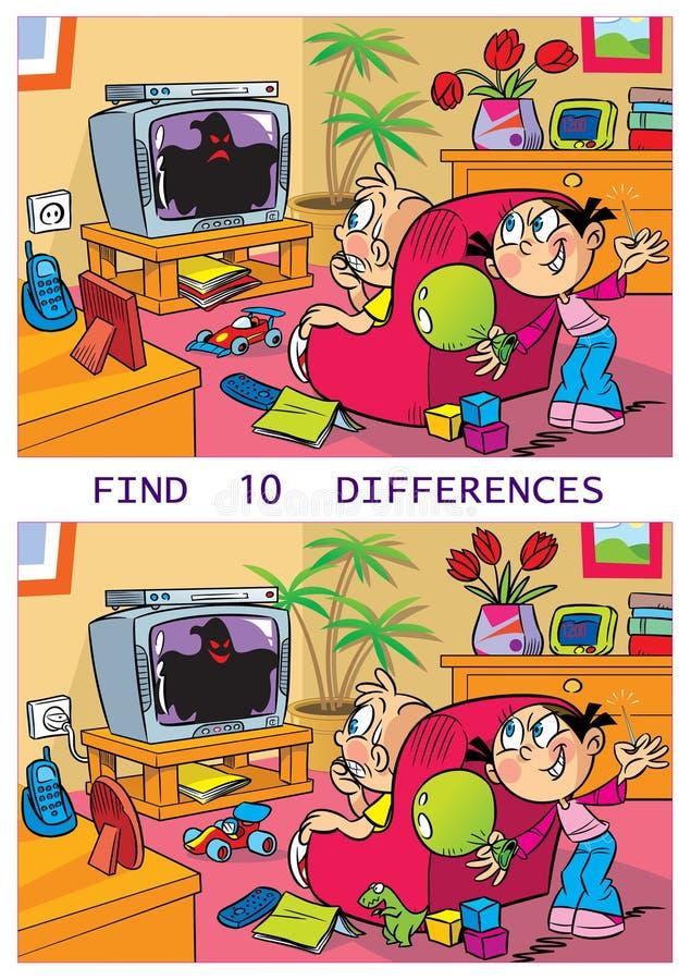 Dez diferenças com um molde engraçado ilustração stock