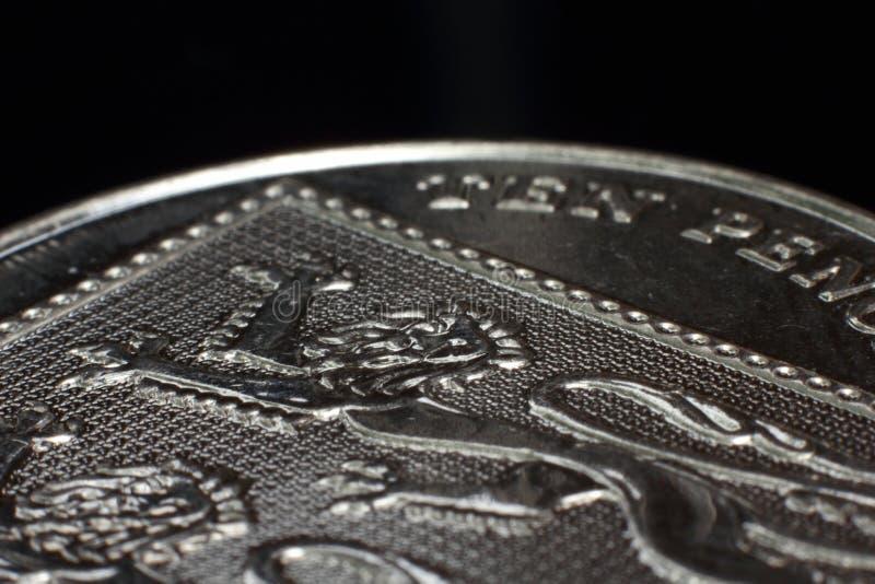 Dez macro das moedas de um centavo 10p foto de stock royalty free