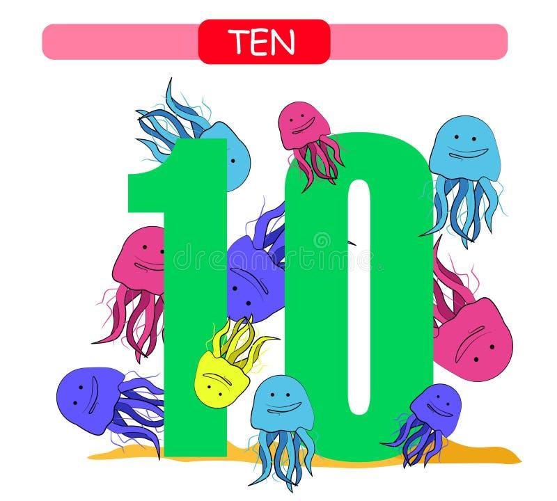 dez Número de coleção para o jardim de infância e o pré-escolar Aprenda o número 10 medusas ilustração stock