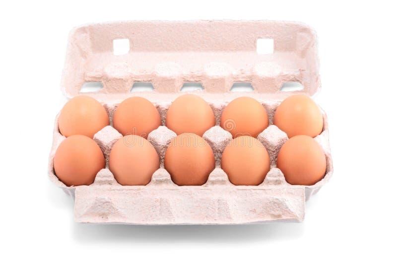 Dez ovos frescos em um pacote da caixa imagens de stock royalty free