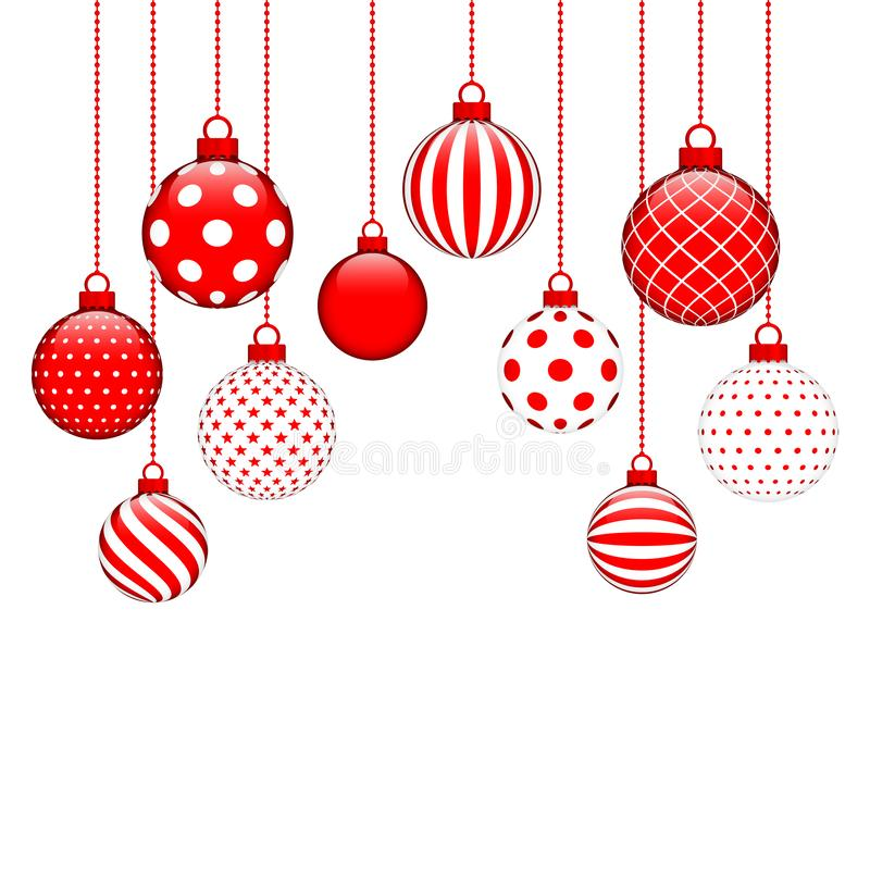Dez quinquilharias de suspensão do Natal com o teste padrão diferente vermelho e branco ilustração do vetor