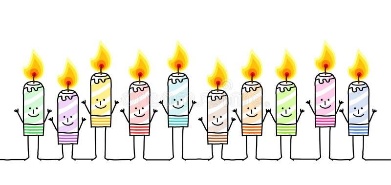 Dez velas da cor ilustração do vetor