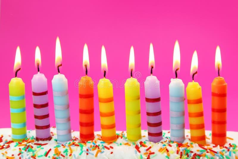 Dez velas do aniversário imagem de stock royalty free