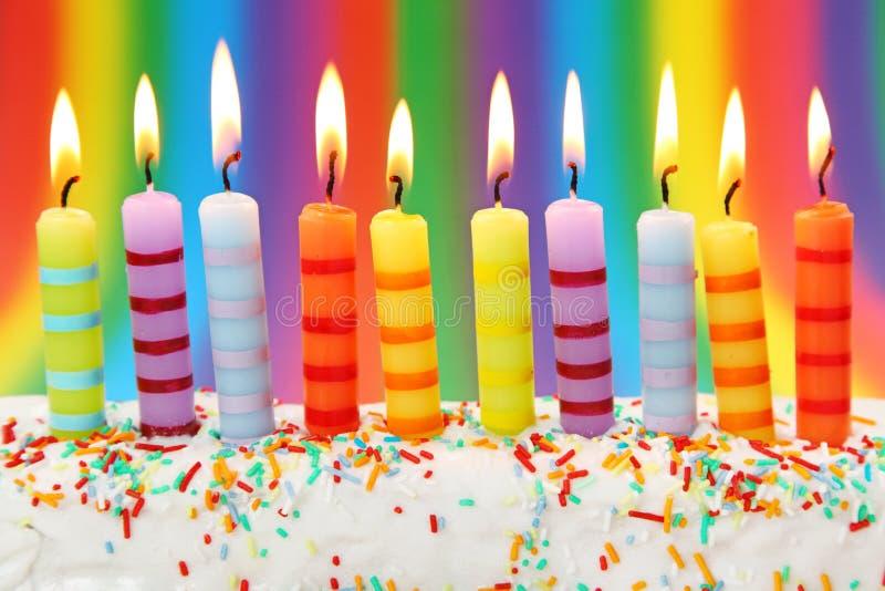 Dez velas do aniversário foto de stock