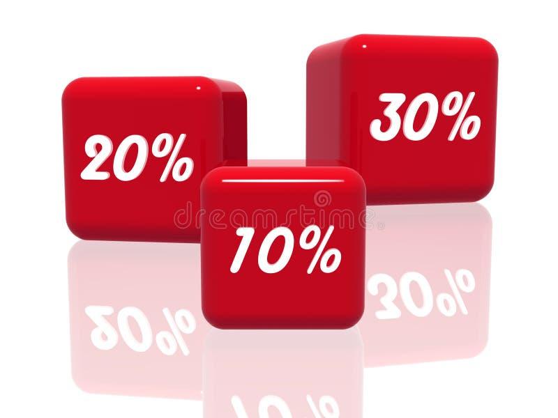 Dez, vinte e trinta porcentagens no vermelho ilustração royalty free