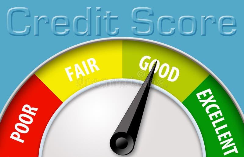 Deze illustratie toont een kredietscore gebruikend een meter van de kredietscore vector illustratie