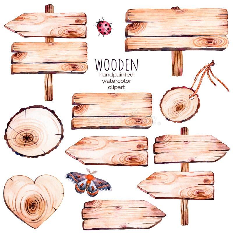 Deze met de hand geschilderde inzameling van 9 waterverf houten plakken clipart stock illustratie