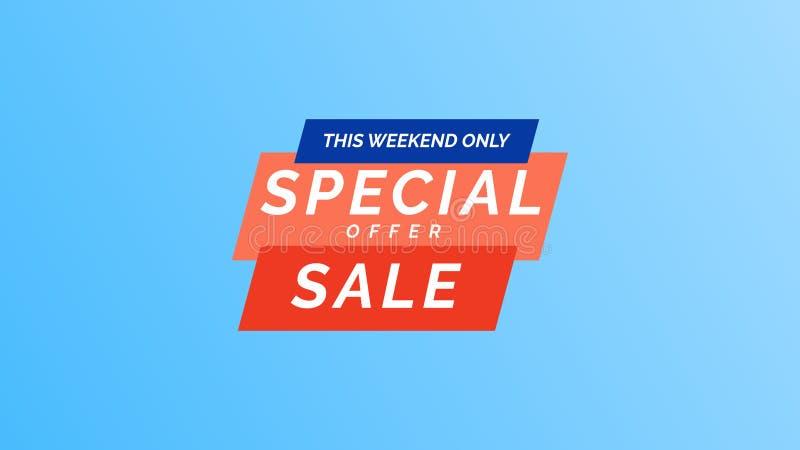 Deze verkoop van de weekend slechts speciale aanbieding Modern vector het malplaatjeontwerp van de illustratiebanner in vlakke in royalty-vrije illustratie