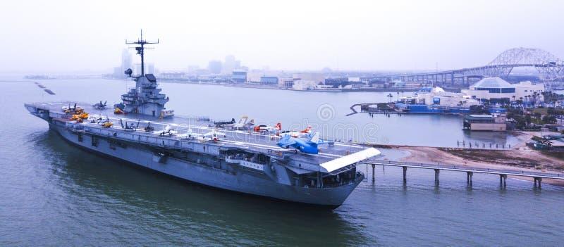 Dezember, 12., 2018 Flugzeugträger USS Lexington im Corpus Christi, Texas USA stockfotografie