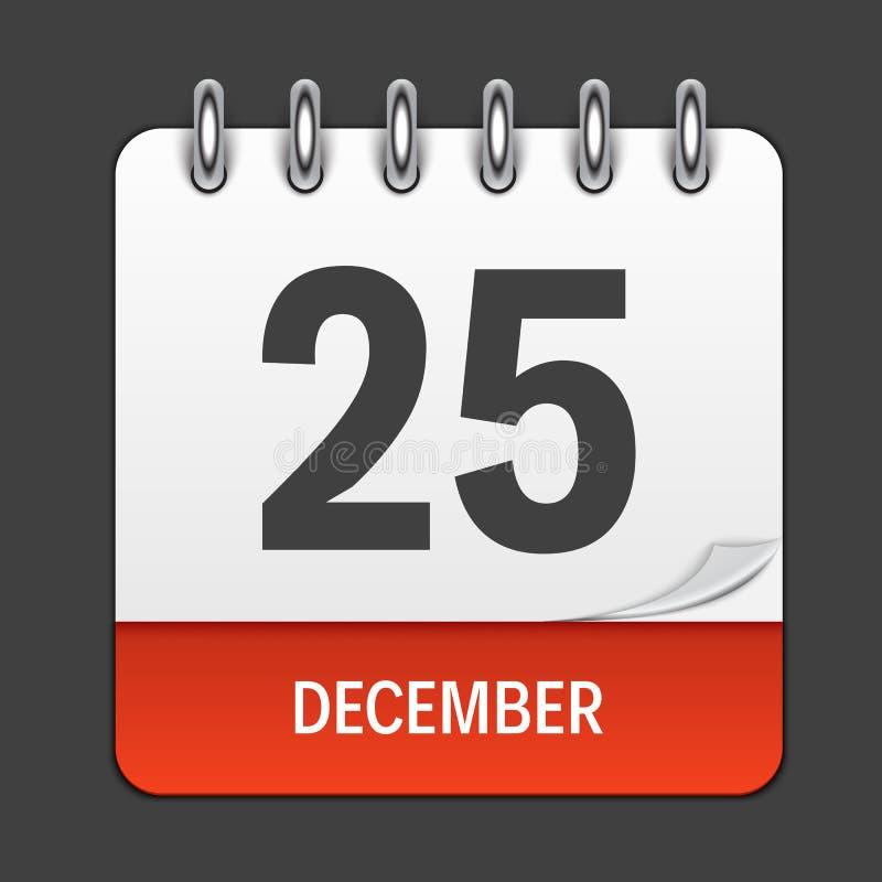 25. Dezember Kalender-tägliche Ikone Vektorillustrationsemblem stock abbildung